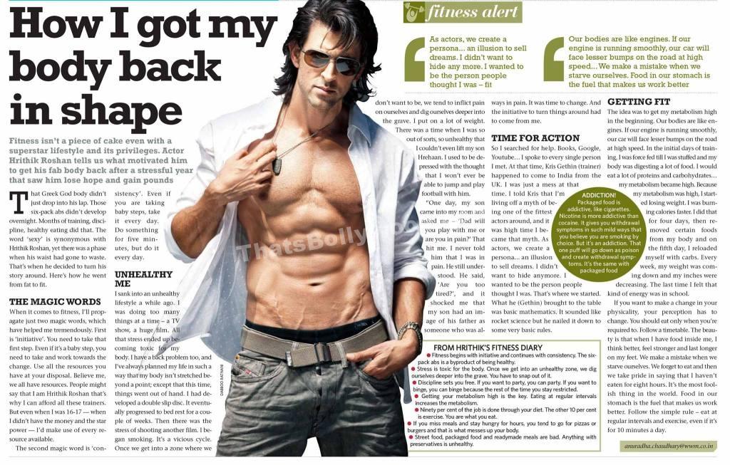 How I got my body back in shape: Hrithik Roshan