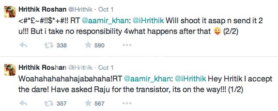 Hrithik Aamir tweets - Thats Bollywood